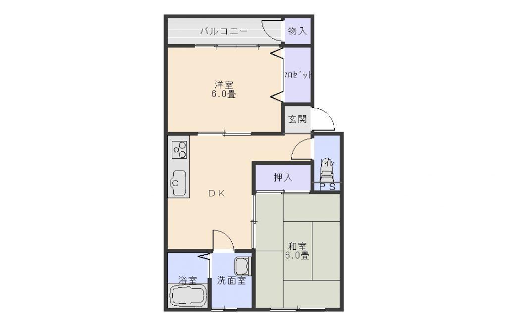 グレースフルシティ東根  (ペット可猫のみ)2DK      42000円(2階空き) 画像1