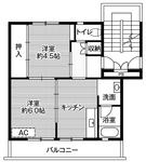 ビレッジハウス六田1号棟   2DK  34000円  2階