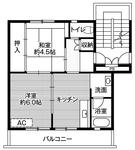 ビレッジハウス六田1号棟 2階  2DK  34000円