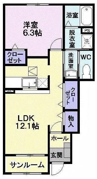 パレ・シャルウィB212  1LDK       51,000円 画像1