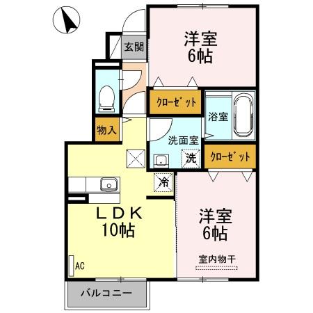 ソルト・レイク 106  2LDK    65,000円   画像1