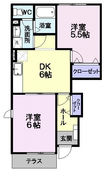 アスペンベ-ルD414  2DK   47,000円   画像2