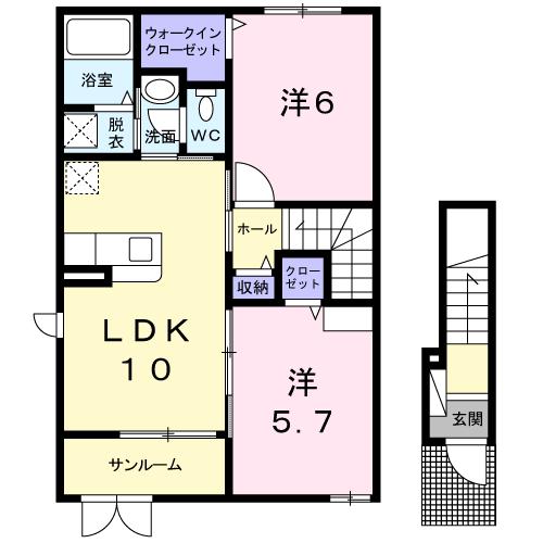 新築・ダンディライオン204  2LDK 60,000円   (ペット可)2021/09 画像2